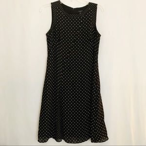 Ann Taylor Petite Black & White Polka Dot Dress